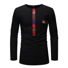 Men's T-shirt African ethnic stitching long-sleeved shirt ZT-YS05 black m