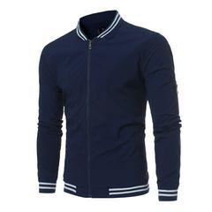 New fashion men's stripe thread collar jacket European size zt-jk03 navy m