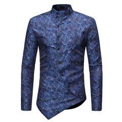 Men's Tops Irregular Hem Long Sleeve Shirts Ouma ZT-CS31 blue s