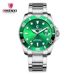 CHENXI men's and women's watch waterproof watch steel band calendar couple watch green face--male