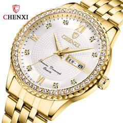 Chenxi high end business wristwatch waterproof calendar with diamond quartz watch men's watch new white