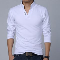 Men's v-neck long-sleeved T-shirt new collar printed polo shirt T02 white m