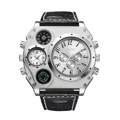 Oulm large dial multi time zone men's watch leisure men's watch hp1349 white