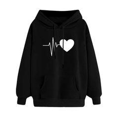 European loose casual Hoodie sweater love printed ladies top thickened shirt black s