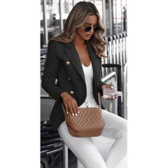 Long sleeve double breasted solid stand collar Blazer ladies top black s