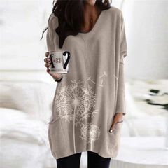 New round neck printing long sleeve ladies top sweater T-shirt for women khaki s