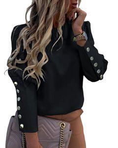 European and American ins net red long sleeve round neck metal buckle ladies top black s