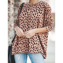 Women's loose round neck leopard T-shirt ladies top khaki s
