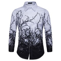 New men's personalized tree Print Long Sleeve large shirt C283 s01 m