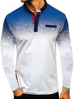 Men's printed long sleeve T-shirt European polo white m
