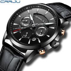 Crrju belt type six pin Chronograph fashion men's watch multi function business men's Watch silver needle
