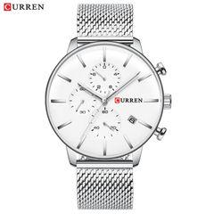 Curren new men's watch stainless steel mesh band calendar watch silver