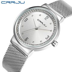 Crrju new women's quartz watch women's watch with diamond steel mesh belt fashion watch silver