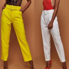 New women's casual pants high waist straight tube trousers with belt rose 2xl