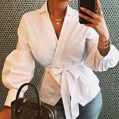 ladies Top New V-neck Long Sleeve Casual Shirt white 2xl