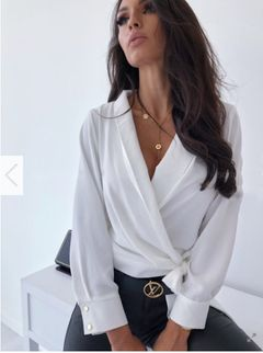 Sexy solid color long sleeve V-neck tie women's shirt and blouse white 3xl