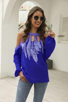 Women's new top long sleeve sexy off shoulder T-shirt chiffon shirt royal blue 5xl
