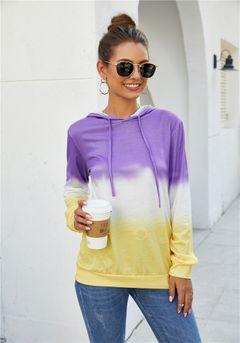 European and American women's Rainbow printing long sleeve Hoodie purple 5xl