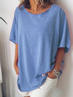European and American new pure color Casual Short Sleeve T-Shirt Top Women's wear blue 5xl