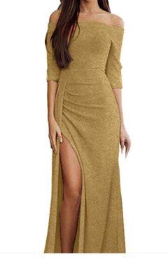 Women's dress shiny dress dress dinner dress long dress gold 3xl