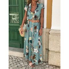 New Bohemian retro ethnic V-neck loose long dress green 2xl