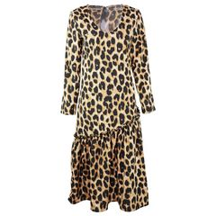 European and American women's leopard V-neck casual dress women's one-piece dress Leopard xl