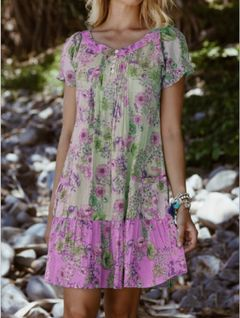 2020 new European and American women's printed Short Sleeve Dress purple 5xl