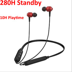 Wireless Earphones Bluetooth Headset 280H Standby Sports HiFi Stereo Good Bass for Android iPhone red