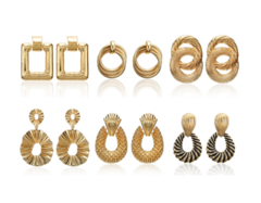 6 Pairs/Set Earrings Set Jewelry Women Fashion Accessories Gold Golden gold one size