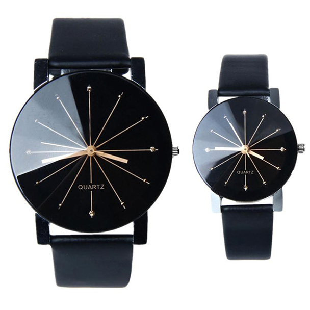 Hot 2019 New Fashion Watches Women Men Lovers Watch Couple Watch Leather Quartz Wristwatch women black