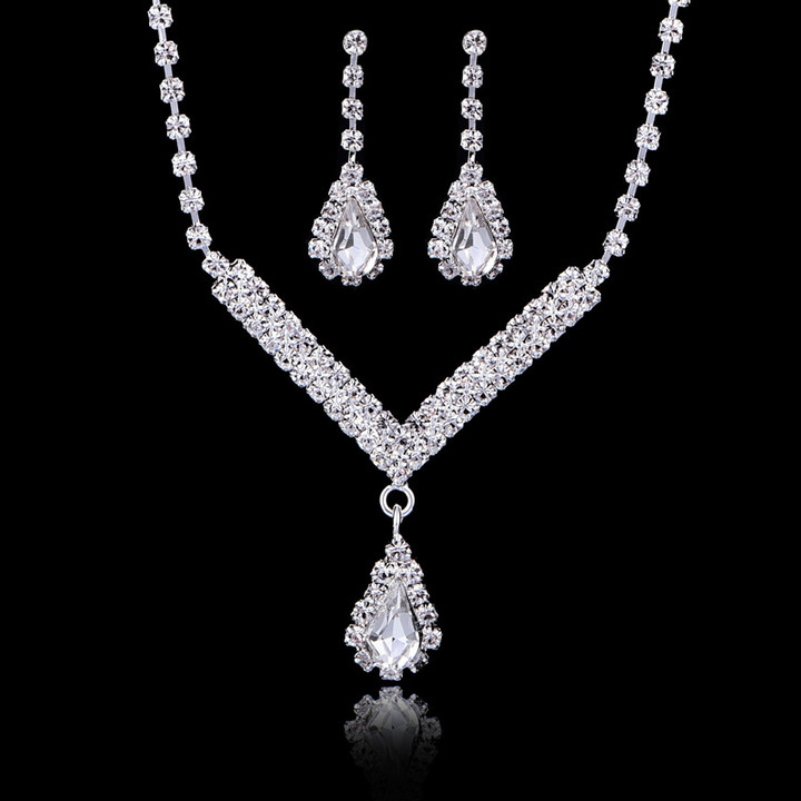 Jewelry Set Simulated Crystal Dimond Necklace Earrings Bride Necklace Earrings Set Party Jewelry Set as picture one size