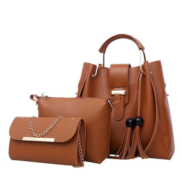 3 Pcs Women Handbag Set Messenger Bags Ladies Fashion Shoulder Bag  PU Casual Female Shopper Tote brown one set