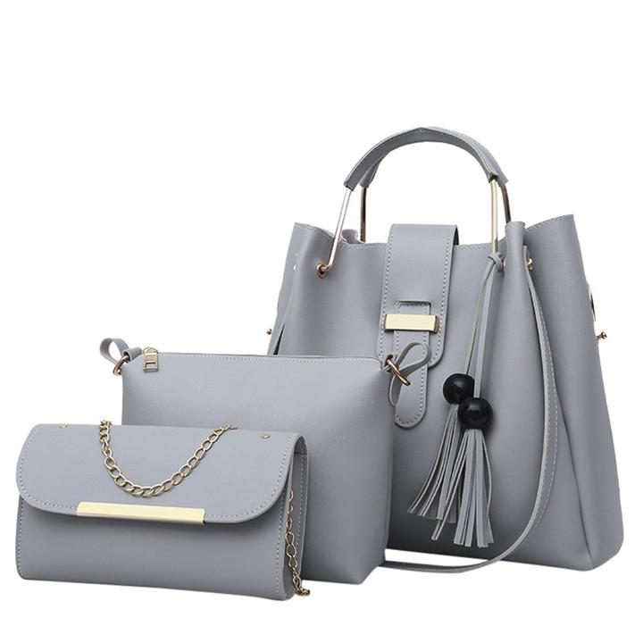 3 Pcs Women Handbag Set Messenger Bags Ladies Fashion Shoulder Bag  PU Casual Female Shopper Tote gray one set