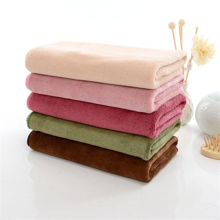 5pcs Towels Colorful Absorbent Microfiber Drying Bath Beach Face Towels Soft Kitchen Kids Baby pink 85*34cm