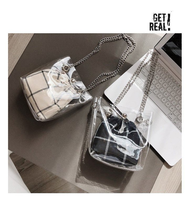 Transparent Shoulder Bags Women mini Bags Purse Handbags Crossbody Bag Clutch Phone Purse Bag black one set