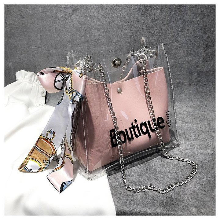 Women Transparent Bucket Bag Clear PVC Jelly Small Shoulder Bag Female Chain Messenger Bags 2019 brown one set
