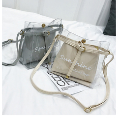 2pcs Fashion Transparent Clean Chain Crossbody Clutch Shoulder Bags For Women Girls Messenger Bag brown one set