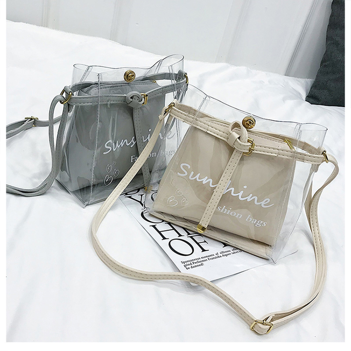 2pcs Fashion Transparent Clean Chain Crossbody Clutch Shoulder Bags For Women Girls Messenger Bag brown one set
