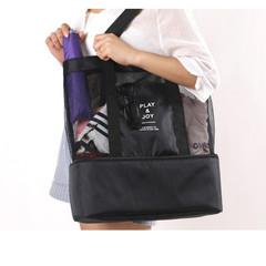High Capacity Transparent Women bag Dry wet depart Double-layer Heat Preservation Picnic Beach Bag blue one size