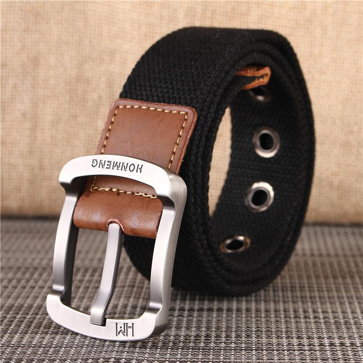 Men Female Belts  Nylon Adjustable Belt Men Outdoor Tactical Waist Belt Buckle for Pants blue