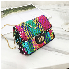 Women's bag 2019 new color shoulder bag fashion bag bling luxury chain Messenger bag colorful 18*15*7