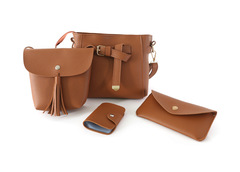 New fashion 4pcs Composite Set Women Bag PU Leather Purse handbag wallet brown one set