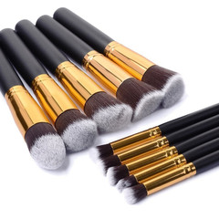 10Pcs Makeup brushes set Wooden handle Makeup Tools Face Eye shadow Powder foundation brush black and gold