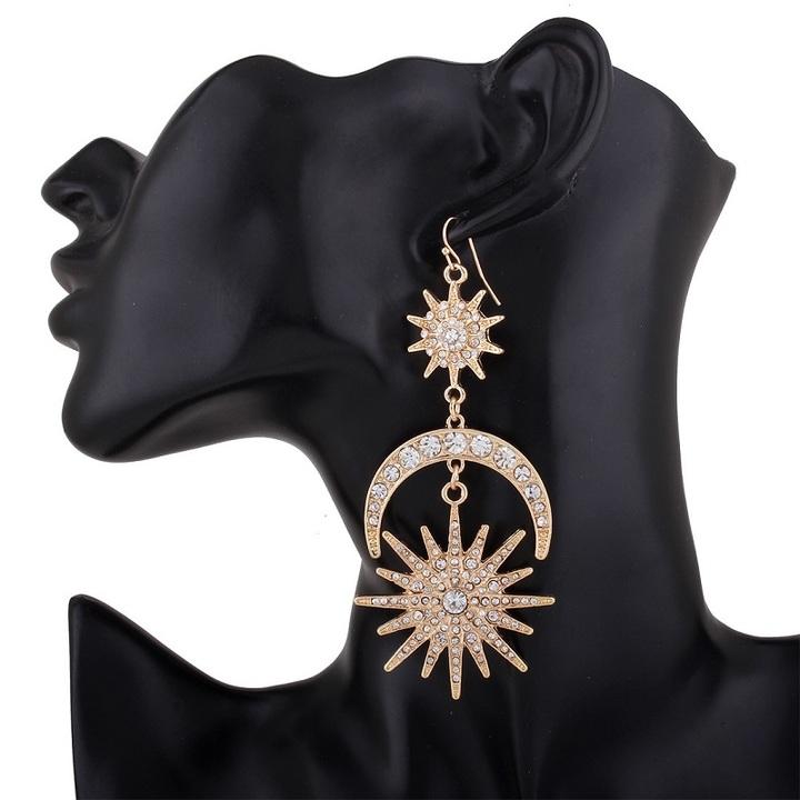 Fashion earrings long earrings star earrings party wedding jewellery shimmery blingbling gold one size