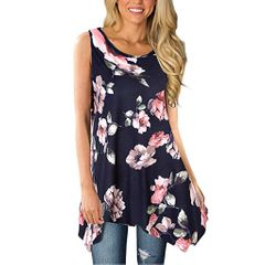 Newly Boho Women Floral Summer Vest Sleeveless Beach Shirt Blouse Tank Tops T-Shirt FDM blue s