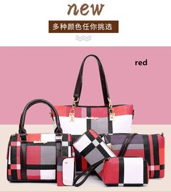 6 PCS Sets Women's Bag Fashion composite bag Single Shoulder Crossing Women's Bag Handbags red one set