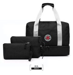 Travel Bag Waterproof Large Capacity Multifunctional Dry Wet Separation Storage Handbag Bag set brown one set