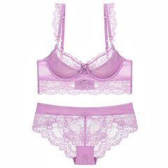 Fashion lace sexy underwear women push up bra set thin cup cotton comfortable Lingerie set purple 34/75b