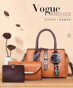 Ladies Hand Bags 3Pcs/Set Women New Color PU Leather Handbag Causal  High Quality Shoulder Bags brown one set