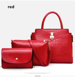 Luxury handbags women bag designer 3PCS handbag set crossbody bag for women shoulder bag card holder red one set